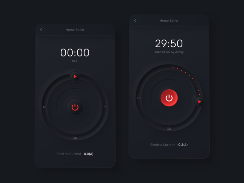 Smart Boiler App switch timer wifi application hot water home smart red black dark neumorphism neumorphic boiler app ui sketch web inspiration design