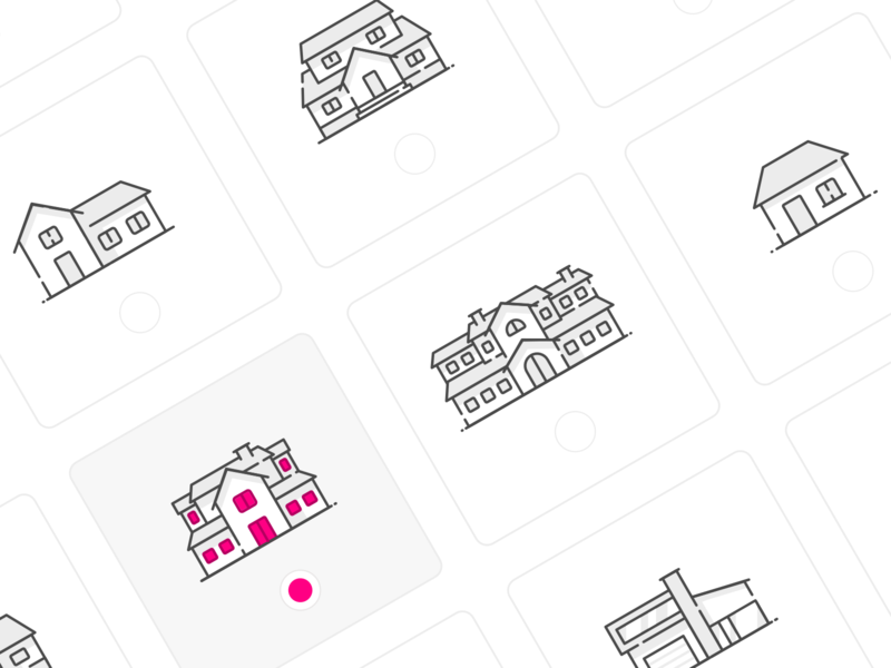 House Selection icons icon building home houses house box check checkbox pink grey outlines outline vector illustration ui sketch web inspiration design
