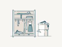 Packing outline boxes box hangers hanger shoes hat dresser dresses dress cloths closet flat vector illustration ui sketch web inspiration design