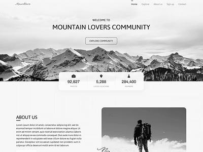Mountlove Web Design animation video photography black and white landscape view blog travel website white black community mountain ux branding ui web inspiration design
