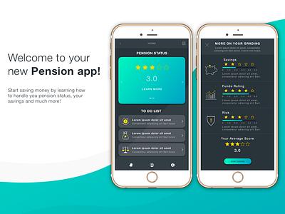 Pension app flat design dark app design modern applicaiton ui inspiration design app