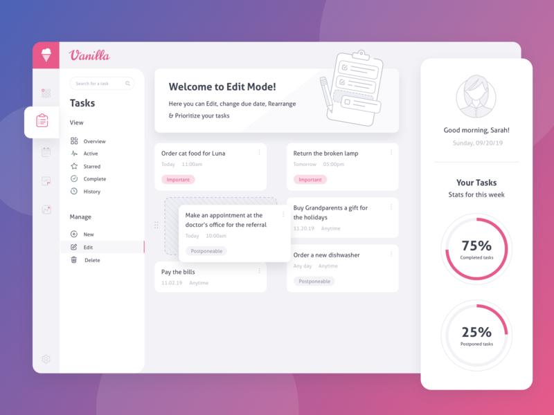Vanilla Dashboard edit tasks task vanilla dashboard illustration vector flat ux ui modern sketch web inspiration design