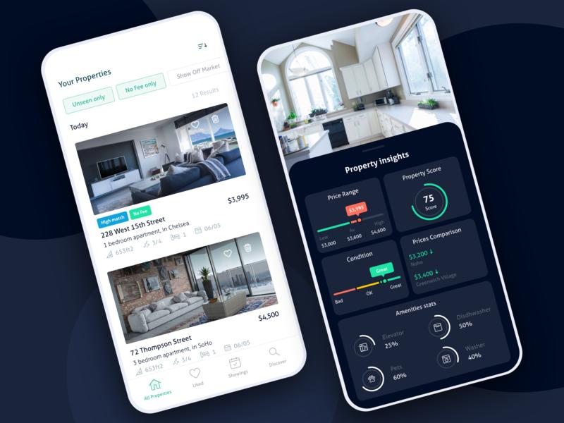 Real estate rent filters list data stats dark home apartment property app real estate icons branding flat ux ui modern web inspiration design