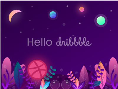 Hello Dribbble design firstshoot debut colorful underwater illustration