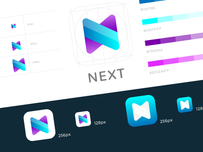 Next App Icon for Android logo clean adobe illustrator app icon android app icon icon modern colorful