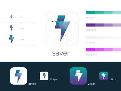 Saver App Icon ui logo android app icon app icon adobe illustrator icon clean modern colorful