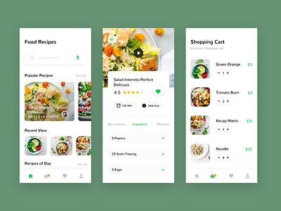 Food Recipe App recipes food ios app colorful green modern ui  ux ui