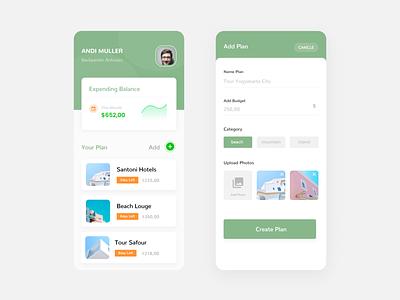 Planner Travelling App travelling clean modern ux ui
