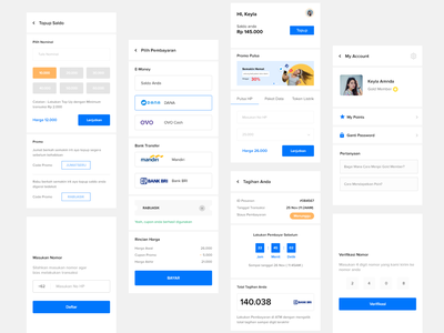 Pulsa App android app transaction wireframing blue uiux modern clean ux ui