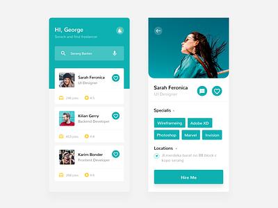 Find Freelance App uiux ui design adobe xd modern