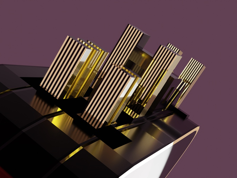 Triangle city lights buildings architecture design 3d 3d modeling blender background