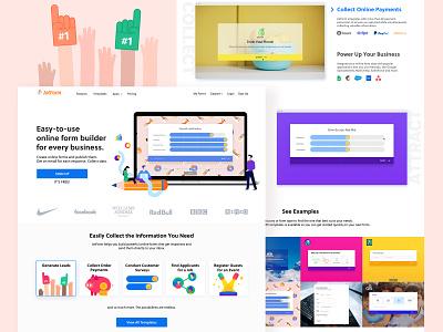Home Page Design for JotForm Online Form Builder icon colorful vector form builder home page web ui design illustration