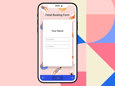 Mobile Card Form hotel booking flat colors card design swipe ux colorful pink mobile web ui iphone xs iphone form builder online form