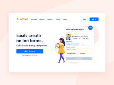 Home Page - Product Order order girl pink landing home page above the fold character vector branding ux illustration flat colors ui online form form builder