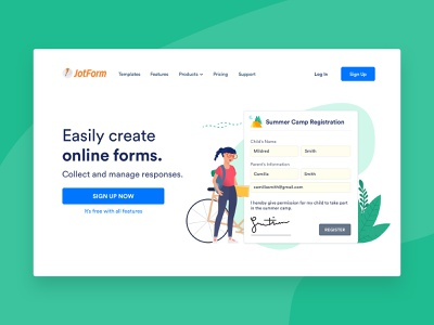 Home Page - Summer Camp Registration form builder green bike landing registration summer camp camping girl character ux vector branding illustration home page ui flat colors online form