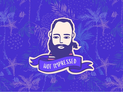 Not Impressed ribbon badge vector tropical purple not impressed beard hipster character illustration