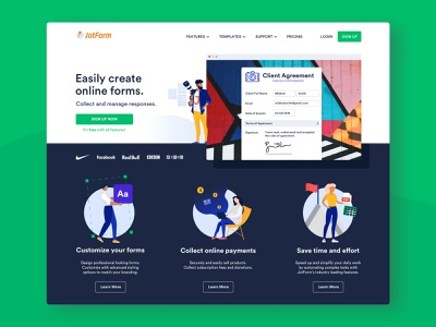 Online Form Builder Home Page - Client Agreement customization payment vector green photographer photography character illustration form builder online form web ui landing home page