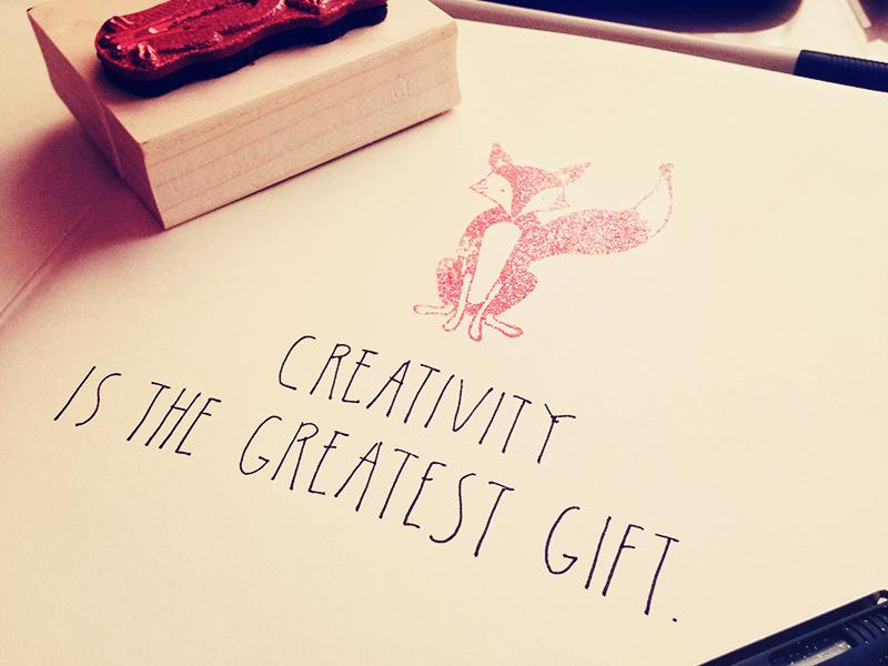 Dilem handwritten creativity is the greatest gift fox
