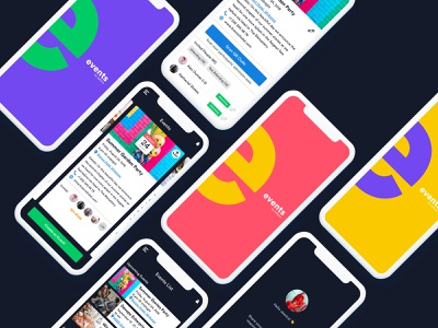 Event Creation and Tracking Mobile App party card flat colors splash screen tracking creation registration event tracking event online form ios iphone app ux ui mobile mobile app