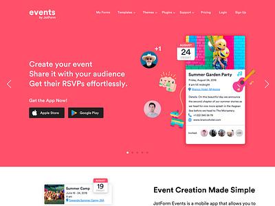 Landing Page for Events Mobile App web app vector online form event registration icons flat colors pink coral ios events mobile app mobile ux ui home page landing page landing