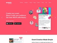 Landing Page for Events Mobile App