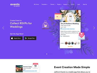 Landing Page for Events Mobile App - Wedding app vector rsvp event wedding mobile mobile app ios icons flat colors big bang theory sheldon amy purple web ux ui home page landing page landing