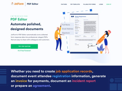 JotForm Pdf Editor Landing Page ux home page form builder ui editing data character illustration flat colors vector online form pdf editor pdf web homepage landing page landing