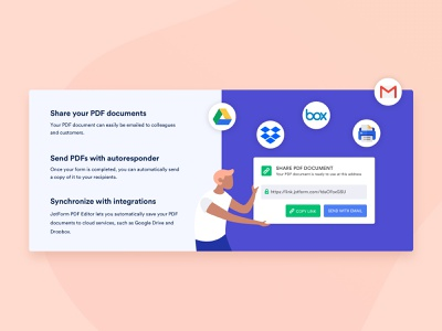 Share Document home page web vector online form landing pdf editor ux ui illustration flat colors google drive dropbox google integration character share document share