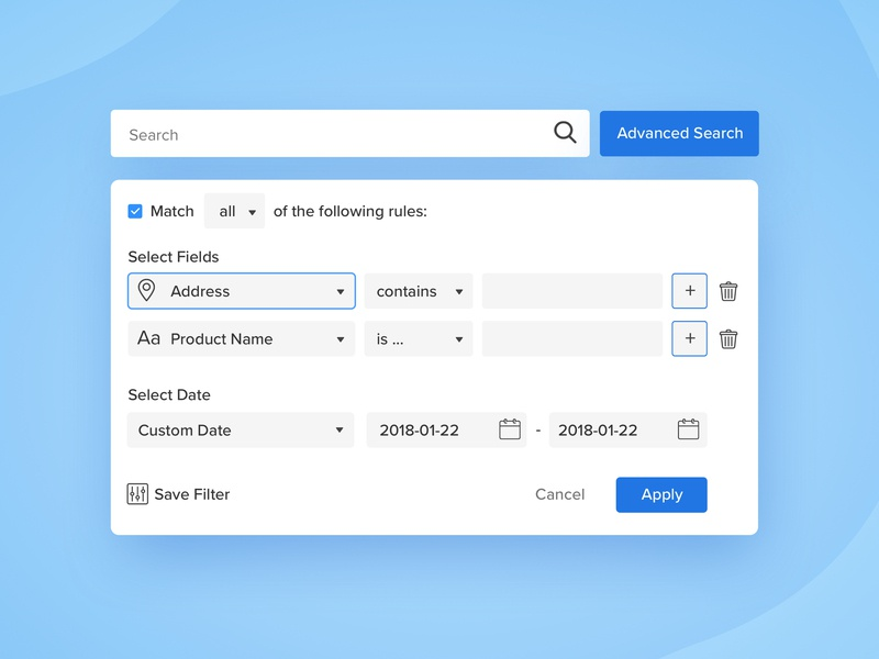 Advanced Search filter add trash checkbox flat colors blue toolbar date table spreadsheet ux ui menu advanced search search advanced