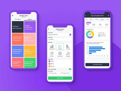 Survey Reporter Mobile App flat colors form builder online form flat purple graphics graph chart ux ui app reporter report survey analytics iphone xs ios mobile app
