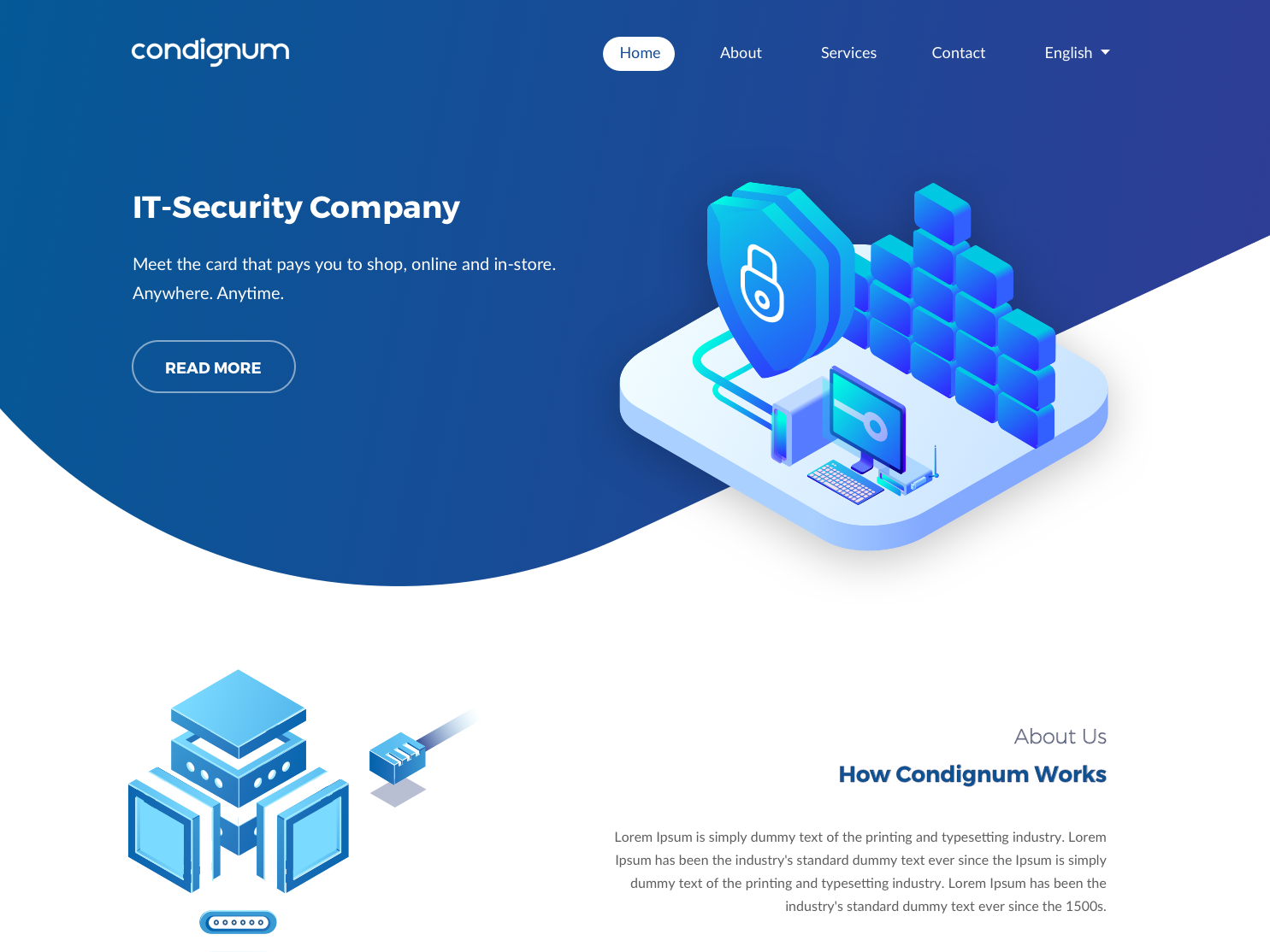 Landing page for IT-Security Company graphics branding admin design mobile customer portal typography vector portal illustration security system it services interface dashboard theme clean flat ux web ui
