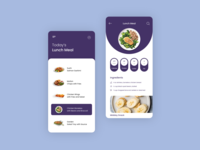 Plan Your Lunch Meal stake meal diet healthy fitness carbs fat calories online food cart order food mobile ui android ios mobile app ui flat cooking food lunch