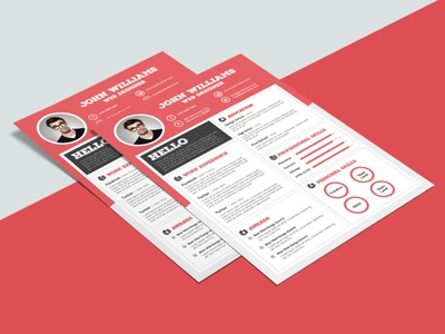 Free Clean Red Resume Template