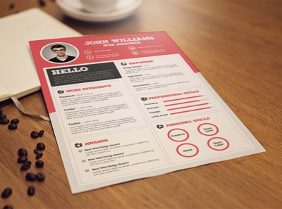 Free Red CV/Resume Template