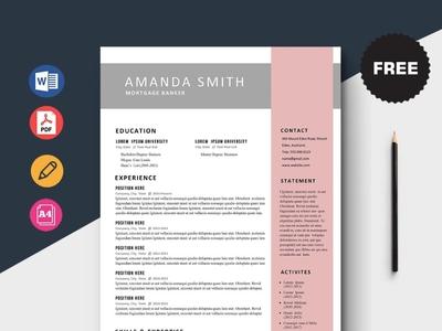 Free Mortgage Banker Resume Template design free cv cv template freebie curriculum vitae free cv template free resume template freebies cv resume