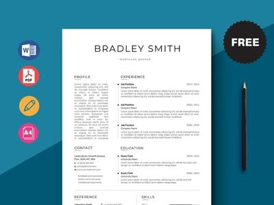 Free Mortgage Broker Resume Template design free cv cv template freebie curriculum vitae free cv template free resume template cv freebies resume