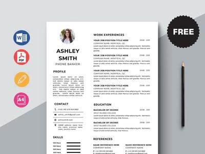 Free Phone Banker Resume Template free cv cv template freebie curriculum vitae free resume template freebies cv resume free cv template