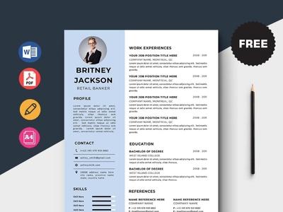 Free Retail Banker Resume Template design free cv cv template freebie curriculum vitae free cv template free resume template freebies cv resume