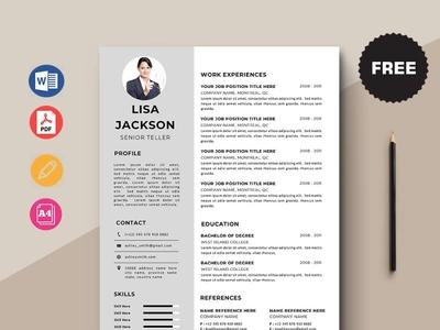 Free Senior Teller Resume Template design resume cv free cv cv template freebie curriculum vitae free cv template freebies free resume template