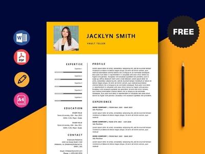Free Vault Teller Resume Template design free cv cv template freebie curriculum vitae free cv template resume cv freebies free resume template