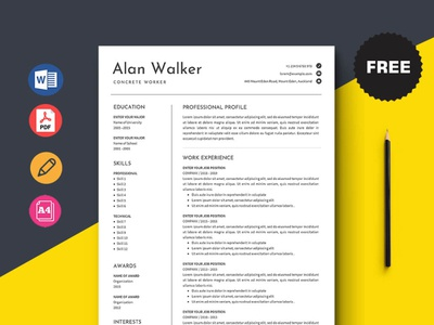 Free Concrete Worker Resume Template free cv cv template freebie curriculum vitae free cv template free resume template freebies cv resume