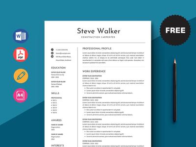 Free Construction Carpenter Resume Template design free cv cv template freebie free cv template free resume template freebies cv curriculum vitae resume