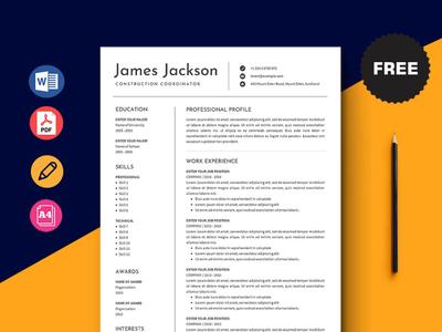 Free Construction Coordinator Resume Template free cv cv template freebie resume cv freebies curriculum vitae free cv template free resume template