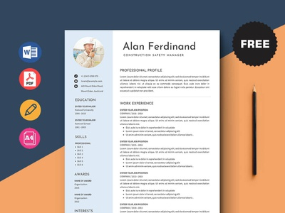 Free Construction Safety Manager Resume Template free cv cv template freebie curriculum vitae free cv template free resume template freebies cv resume