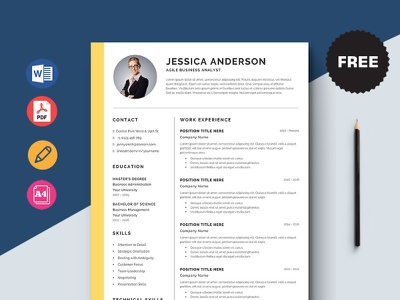 Free Agile Business Analyst Resume Template free cv cv template freebie curriculum vitae free cv template free resume template freebies cv resume