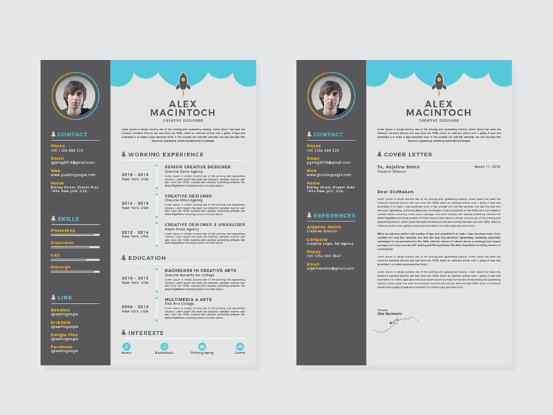 Free Creative Resume Template With Matching Cover Letter By Julian