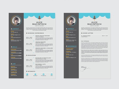 Free Creative Resume Template with Matching Cover Letter photoshop free psd psd cv freebie freebies free resume template resume