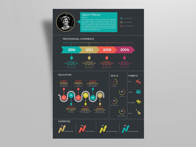 Free Creative Infographic Resume Template By Julian Ma Dribbble