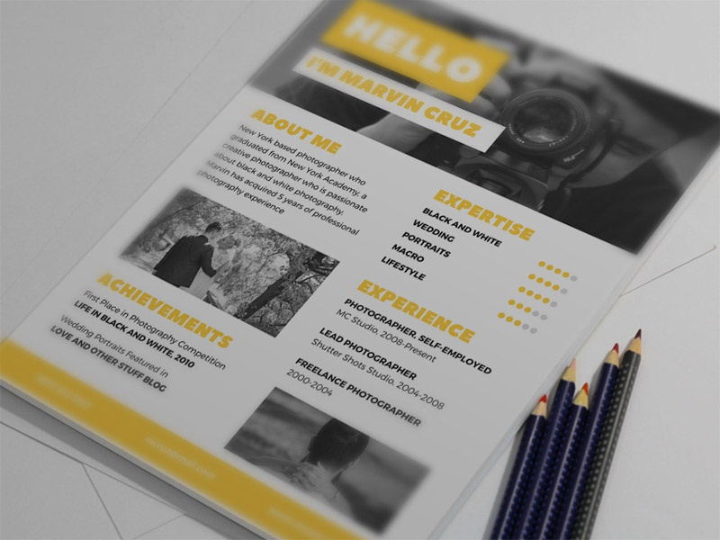 Free Yellow Photographer Resume Template By Julian Ma Dribbble