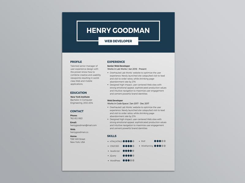free dark blue resume template by julian ma dribbble dribbble